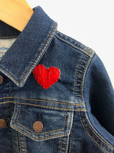 "Load image into Gallery viewer, ""fierce"" embroidered denim jacket / 18-24m"