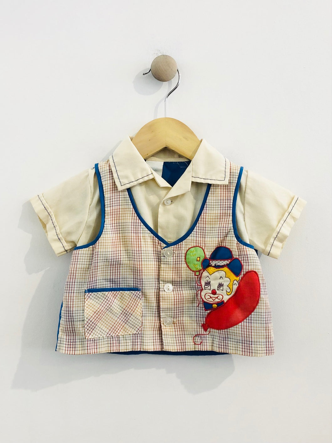 clown vest button up / 3-9m