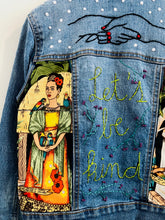 "Load image into Gallery viewer, ""let's be kind"" embroidered denim jacket / 6-8Y"