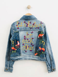 """let's listen to each other"" embroidered denim jacket / 6-8Y"