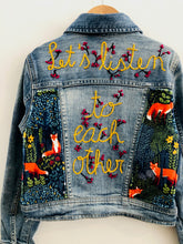 "Load image into Gallery viewer, ""let's listen to each other"" embroidered denim jacket / 6-8Y"
