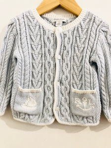 nautical cable knit cardigan / 18m