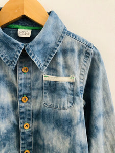 washed denim button up / 2T