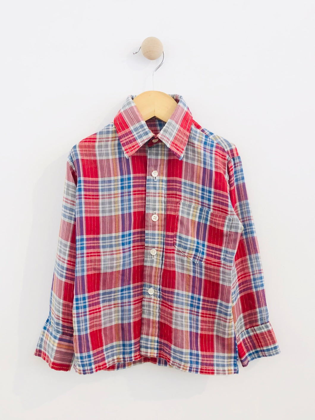 plaid button up / fits 4-6Y