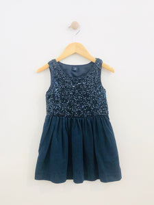 sequin denim dress / XS (4-5Y)