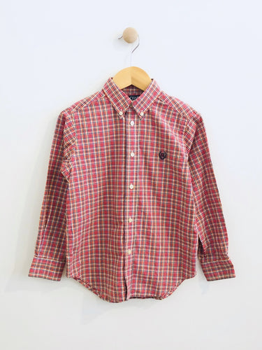 plaid button-up / 6Y