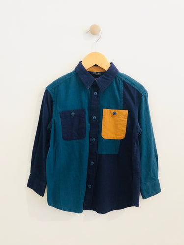 colorblock button-up / 4y