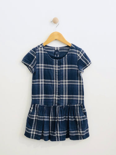 plaid drop waist dress / 6-7Y