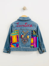 "Load image into Gallery viewer, ""justice"" embroidered denim jacket / 2T"