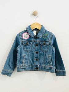 """justice"" embroidered denim jacket / 2T"