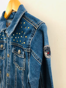 """rise up"" embroidered denim jacket / 6Y"