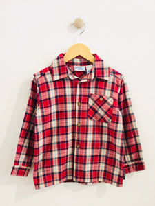 buster brown plaid button-up / 5Y