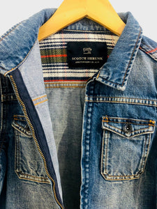 plaid yoke denim jacket / 6Y
