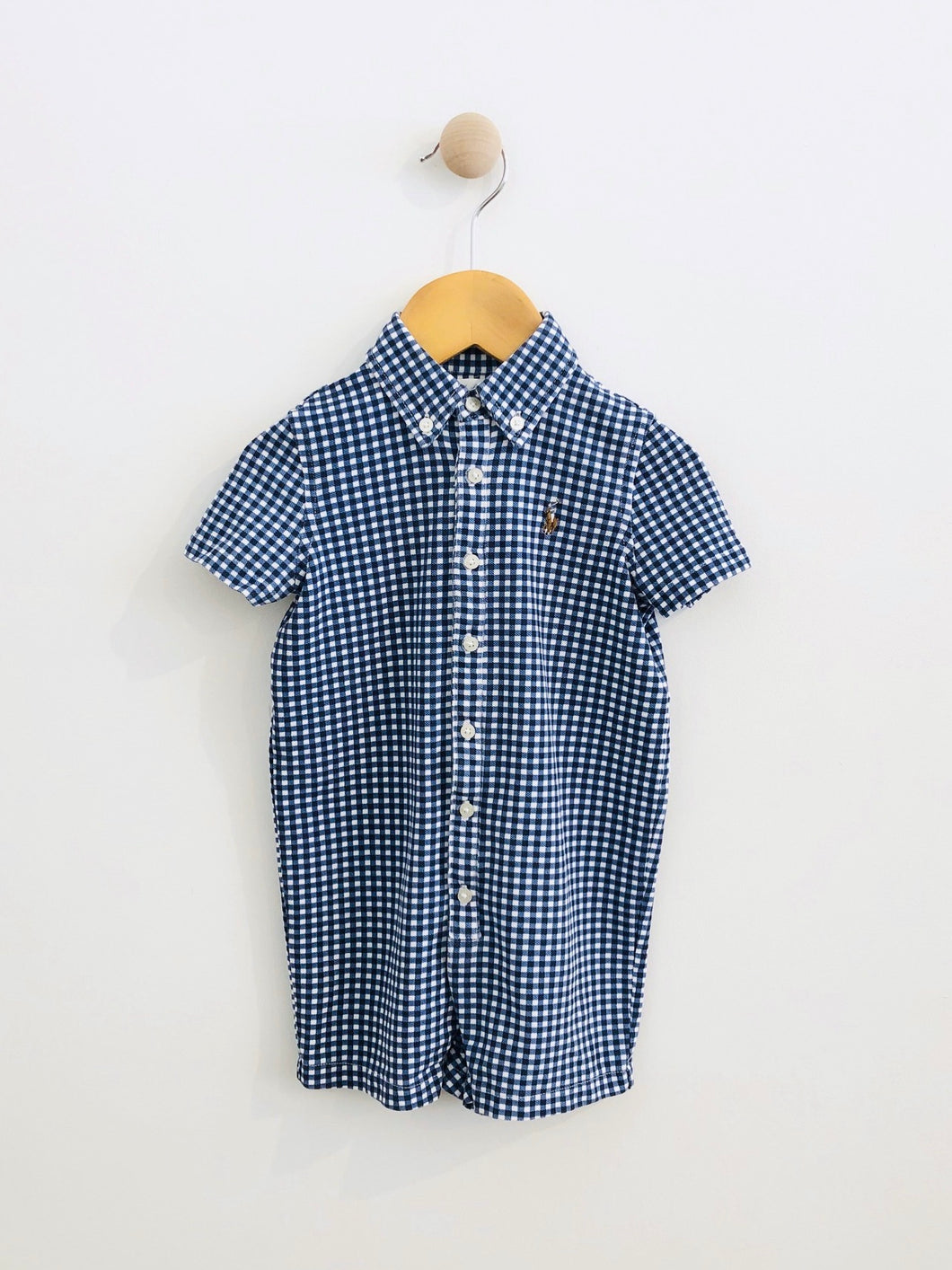 gingham short onesie / 12m