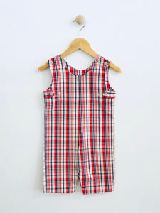 plaid romper / fits 6-9m
