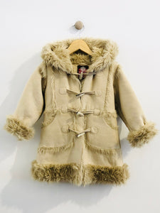 faux fur and suede coat / 3T