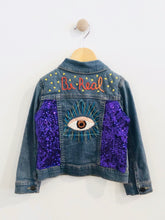 "Load image into Gallery viewer, ""be real"" embroidered denim jacket / 3T"
