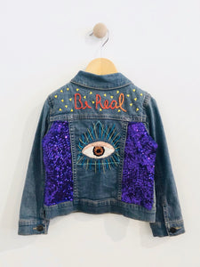 """be real"" embroidered denim jacket / 3T"