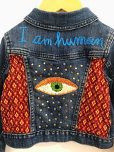 "Load image into Gallery viewer, ""I am human"" embroidered denim jacket / 2T"