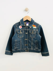"""equality"" embroidered denim jacket / 3T"