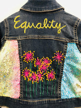 "Load image into Gallery viewer, ""equality"" embroidered denim jacket / 3T"