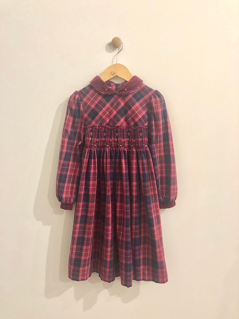 plaid embroidered dress / 6Y