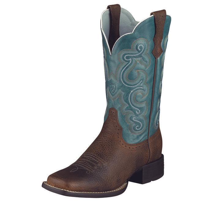 Ariat Women's Quickdraw Western Boot Brown Rowdy/Sapphire Blue-10004720