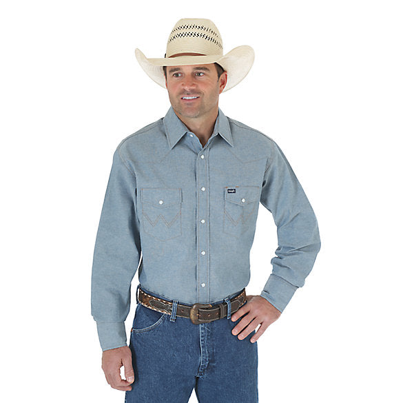 Cowboy Cut Firm Finish Long Sleeve Western Snap Work Shirt- Chambray Blue