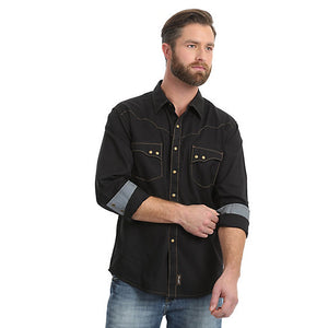Retro Long Sleeve Spread Collar Solid Shirt- Black