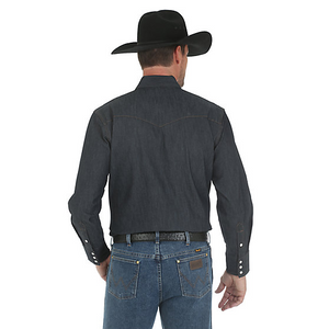 Premium Performance Advanced Comfort Cowboy Cut Long Sleeve Spread Collar Solid Shirt- Denim