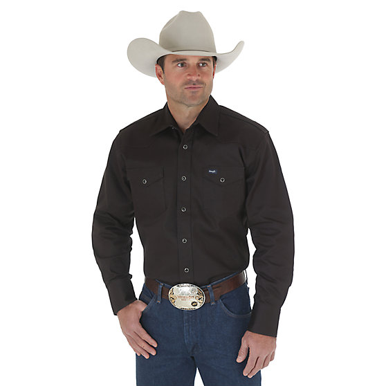 Cowboy Cut Firm Finish Long Sleeve Western Snap Solid Work Shirt- Black