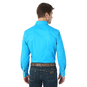 Premium Performance Advanced Comfort Cowboy Cut Long Sleeve Spread Collar Solid Shirt- Blue