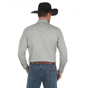 Premium Performance Advanced Comfort Cowboy Cut Long Sleeve Spread Collar Solid Shirt- Cement