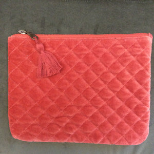 Pochette Matelassée Velours Orange