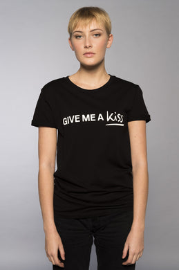 T-Shirt Give Me a Kiss noir By Romance