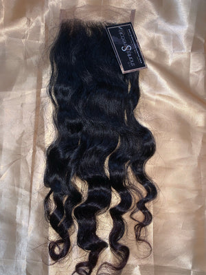 Raw Cambodian Light Coarse OCEAN or SPECIAL Curly 5*5 micro lace closure