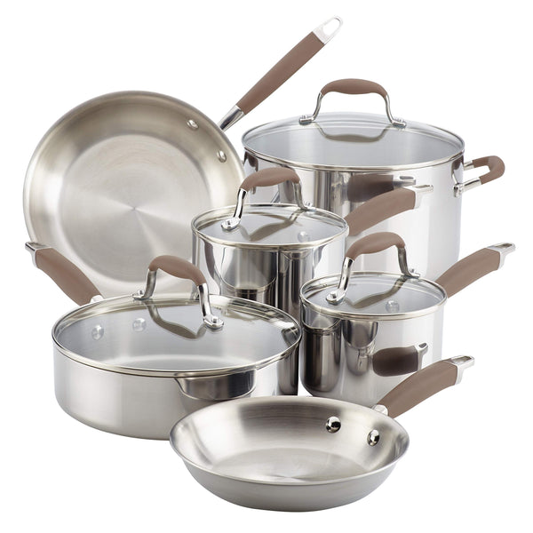 Anolon 10-piece Stainless Steel Cookware Set, Bronze Handles