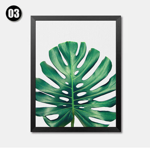 Modern Green Leaf Tropical Monstera Art Canvas Prints