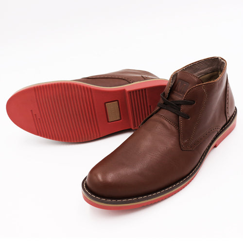 * Leather Shoes - CHUKKA - BROWN W/ RED SOLES