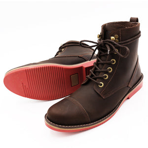 * Leather Boots - THE HORSEMAN - DARK BROWN W/ RED SOLES