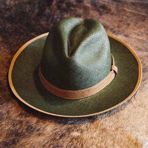 Handwoven Toquilla Straw Hat - THE CLASSIC - MOSS GREEN