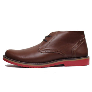 Leather Shoes - CHUKKA - BROWN W/ RED SOLES