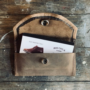 Business Card Holder - Leather Wallet - DARK BROWN