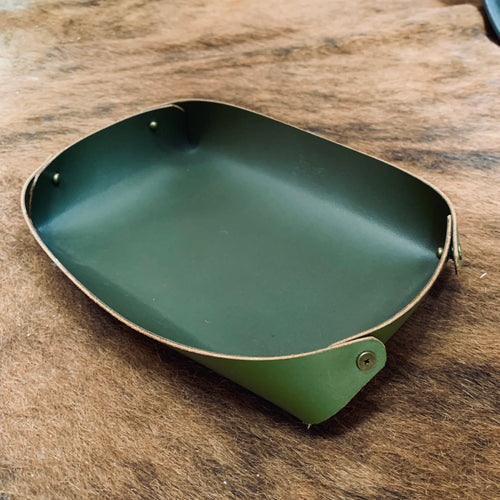 Valet Tray - Italian Army Green Leather