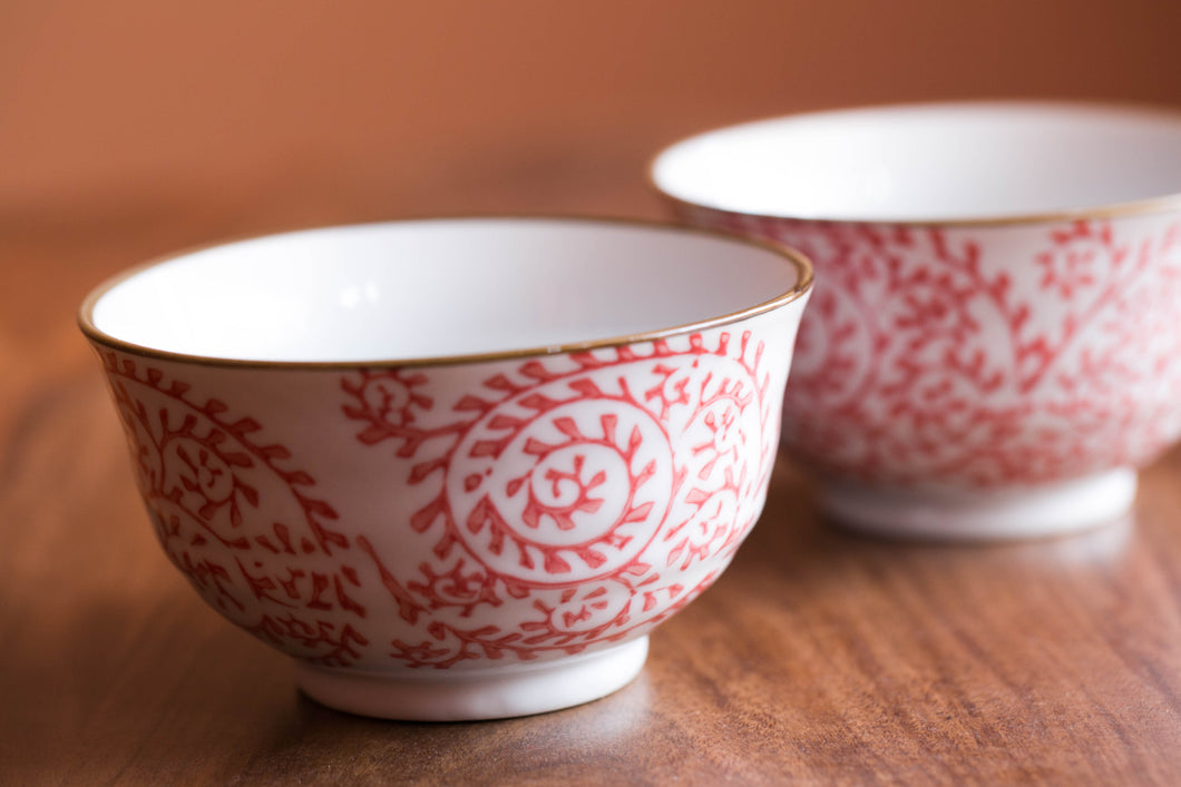 Medium-sized White and Pink Bowl