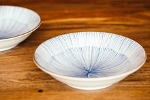 Large Blue and White Striped Bowl