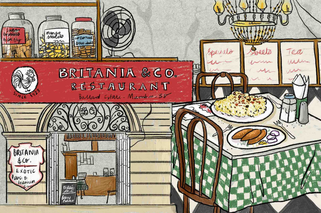 Inside Britannia & Co., Mumbai, Watercolour Print