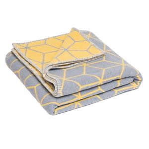 Atlanta blanket Grey and Yellow Geometric Single Size Bed Blanket( Throw). - Grace Beauty