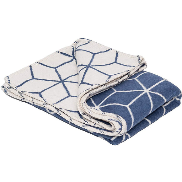 Atlanta blanket Navy & Cream Geometric Single Size Bed Blanket( Throw) - Grace Beauty