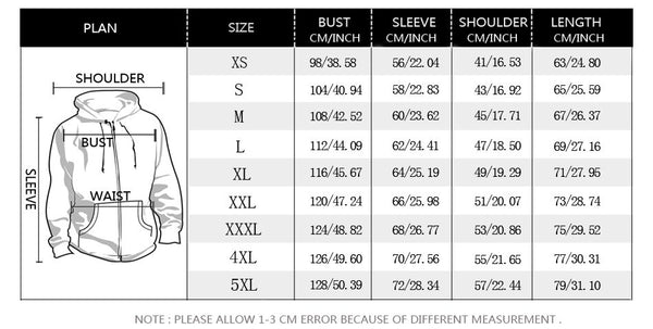 retro shapes hoodie size chart
